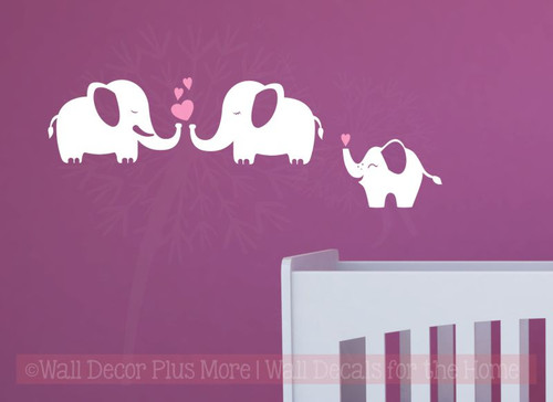 Elephant Family Vinyl Art Decals Wall Stickers for Baby Nursery Decor-White, Soft Pink