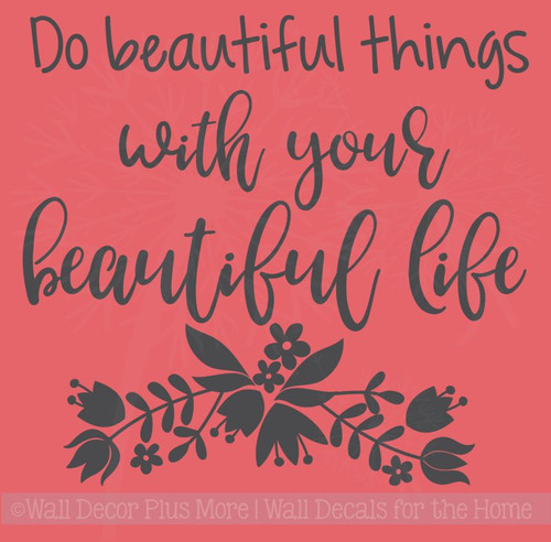 Beautiful Life Inspirational Quotes Vinyl Letters Decals for Graduation