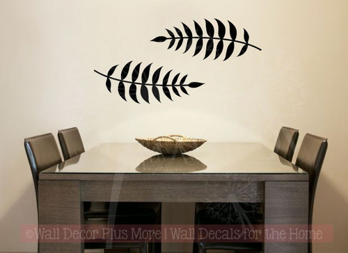 Large Florals Set of 2 Vinyl Art Stickers Wall Decals for Home Decor-Black