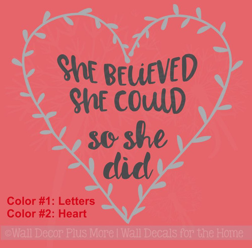 She Believed She Could Laurel Heart Inspirational Gift Vinyl Wall Decals