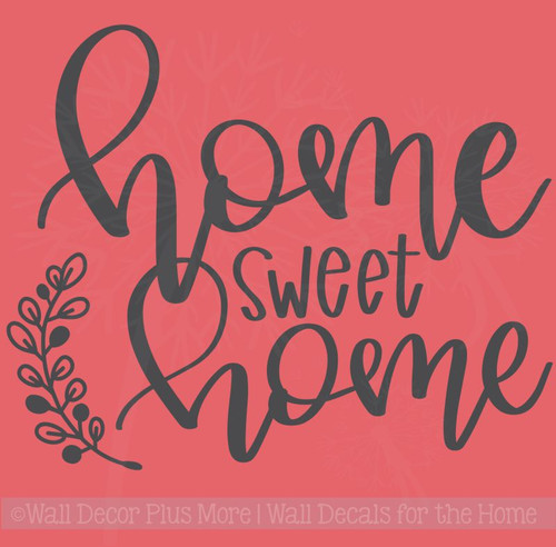 Home Sweet Home Laurel Leaf Handwriting Vinyl Letters Kitchen Wall Stickers