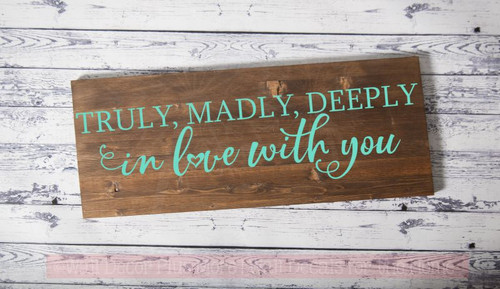 Truly, Deeply in Love With You Master Bedroom Quotes Modern Vinyl Decals-Mint