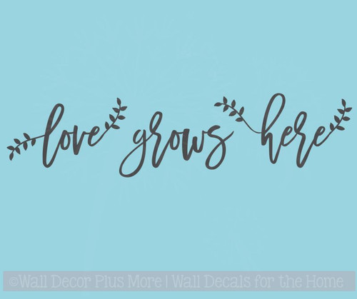 Love Grows Here Laurel Leaves Cursive Lettering Quotes Wall Decal Stickers