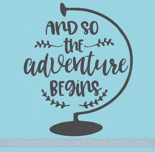So the Adventure Begins Graduation Decal Quotes with Globe Art Vinyl Stickers