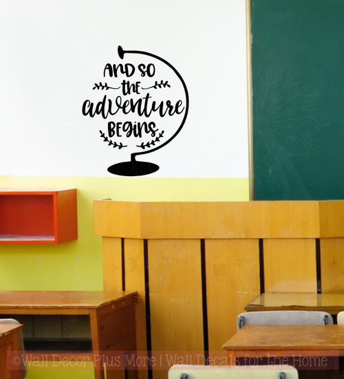 So the Adventure Begins Graduation Decal Quotes with Globe Art Vinyl Stickers-Black