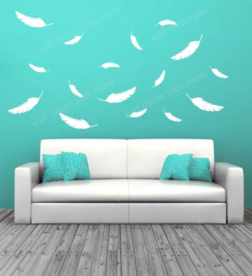 Feathers Wall Vinyl Decals Sticker Shapes Modern Nursery Wall Art-White