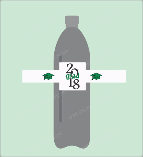 Graduation Water Bottle Label Stickers Grad 2018 Set of 8 Green