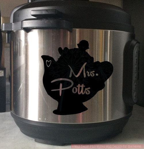 Mrs Potts Instant Pot Decal Vinyl Art Stickers Fun Kitchen Decor-Glossy Black
