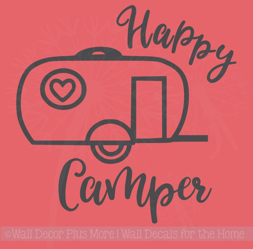 Happy Camper Wall Art Stickers Vinyl Lettering Decals for RV Decor