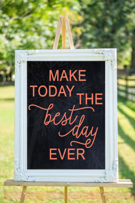 Make Today Best Ever Motivational Wall Decal Stickers Bathroom Quote-Coral