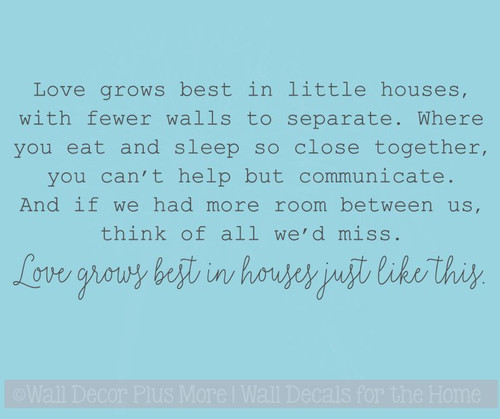 Loves Grows Best Little Houses Kitchen Wall Decals Vinyl Lettering Quotes