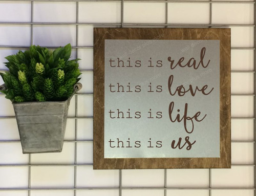 Metal on Wood This is Real This is Us Metal or Wood Sign with Vinyl Sticker Quote, Wall Art, 3 Sign Choices-Chocolate