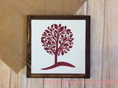Framed Wood Tree on a Hill Wood Sign Metal with Quote, Hanging Wall Art, 3 Sign Choices-Burgundy