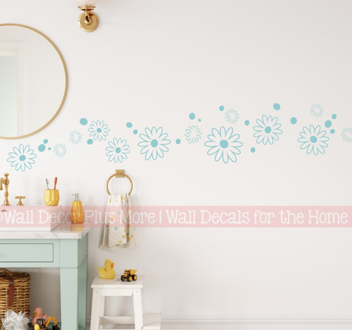 Daisy Flower Dot Floral Wall Decal Girls Room Decor Vinyl Decal Beach House Blue