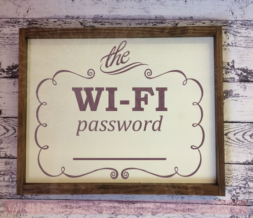 Wifi Password Vinyl Lettering Stickers Hotel Sign Wall Art Decals-Eggplant