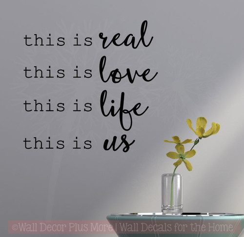 This Is Real This Is Us Home Decor Wall Decal Stickers Bedroom Quotes-Black