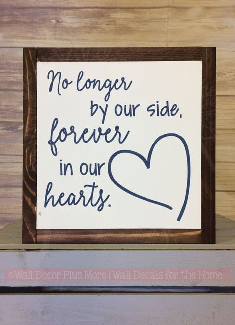 Forever In Our Hearts Memorial Quote Family Wall Art Stickers Vinyl Decals-Deep Blue