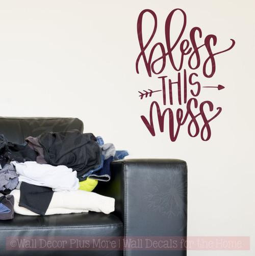 Bless This Mess Wall Decal Stickers Vinyl Letters Mom Quote for Home Decor-Burgundy