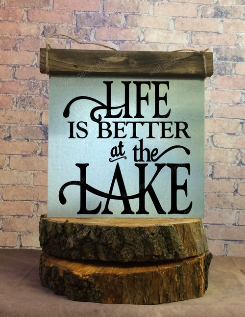 Metal with Wood Topper Life is Better at the Lake Wood Sign Metal with Quote, Hanging Wall Art, 3 Sign Choices-Black