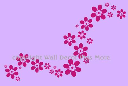 Pink Girls Room Wall Decor Decal Floral Flowers