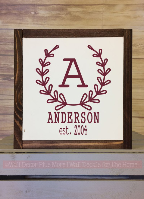 Framed Wood Monogram Laurel Wreath Personalized with Name and Date Metal or Wood Sign with Vinyl Sticker Quote, Wall Art, 3 Sign Choices-Burgundy