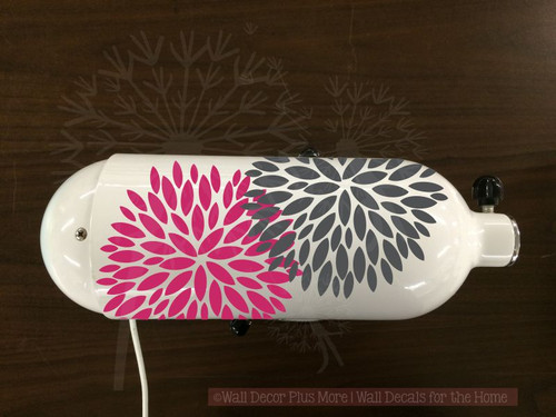 Flower Burst Vinyl Decals Stickers, 2-color, for Kitchenaid Mixer Decoration, Hot Pink & Silver