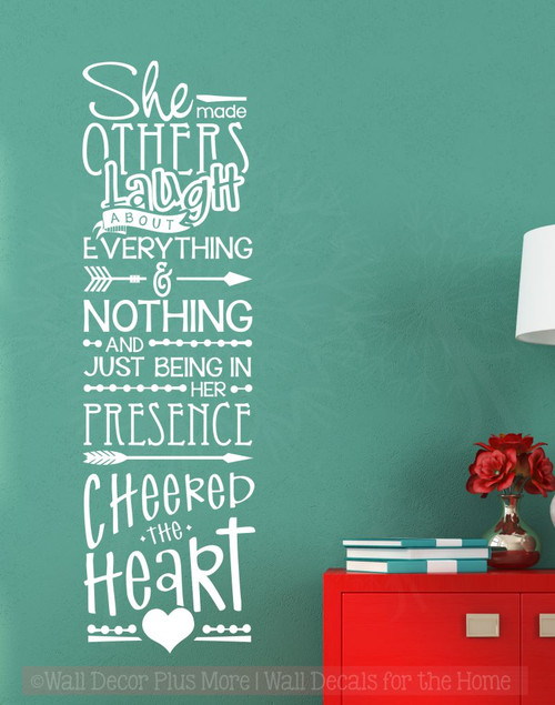 Her Presence Cheered The Heart Girls Bedroom Quotes Vinyl Wall Decals-White