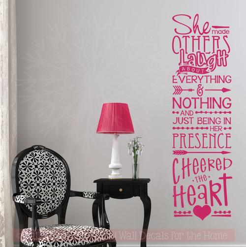 Her Presence Cheered The Heart Girls Bedroom Quotes Vinyl Wall Decals