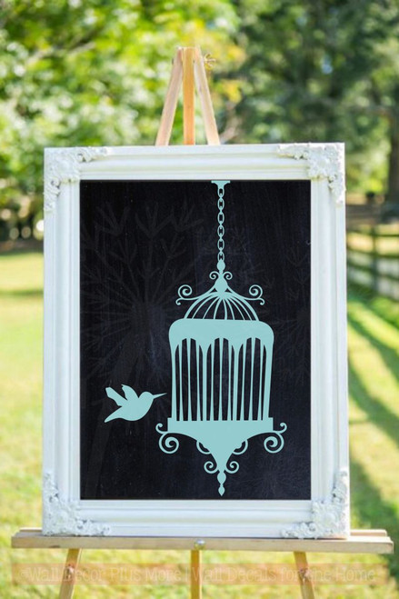 Hummingbird with Cage Wall Art Stickers Wedding Decor Vinyl Decals-Beach House
