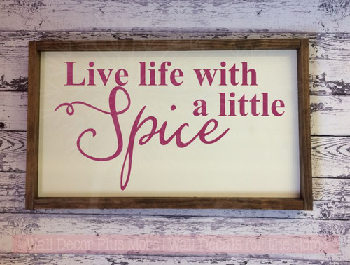 Live Life With Spice Lettering Quotes Vinyl Wall Decals Sticker-Berry