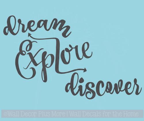 Dream Explore Discover Inspirational Vinyl Decals Wall Art Stickers