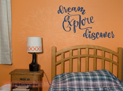 Dream Explore Discover Inspirational Vinyl Decals Wall Art Stickers-Deep Blue