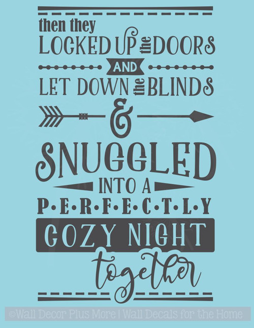 Cozy Night Together Bedroom Quotes Vinyl Lettering Wall Decals for Decor