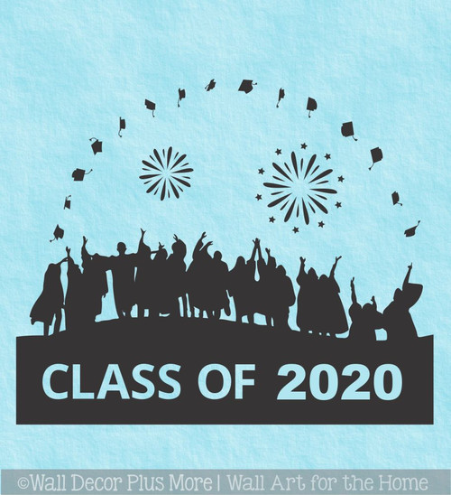 Class Of 2020 Vinyl Art Stickers Graduates Tossing Caps Wall Art Stickers Graduation Decor