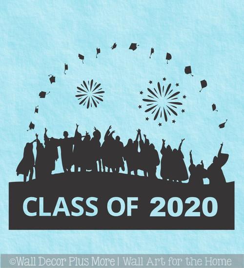 Class Of 2020 Vinyl Art Stickers Graduates Tossing Caps Wall Art Stickers Graduation Decor