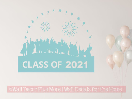 Class Of 2021 Vinyl Art Stickers Graduates Tossing Caps Wall Art Stickers Graduation Decor Beach House