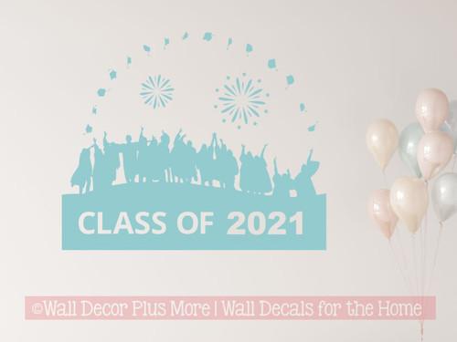 Class Of 2021 Vinyl Art Stickers Graduates Tossing Caps Wall Art Stickers Graduation Decor Beach House