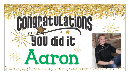 Graduation Congratulations Banner Sign Printed with Name and Photo 36x20-Inch