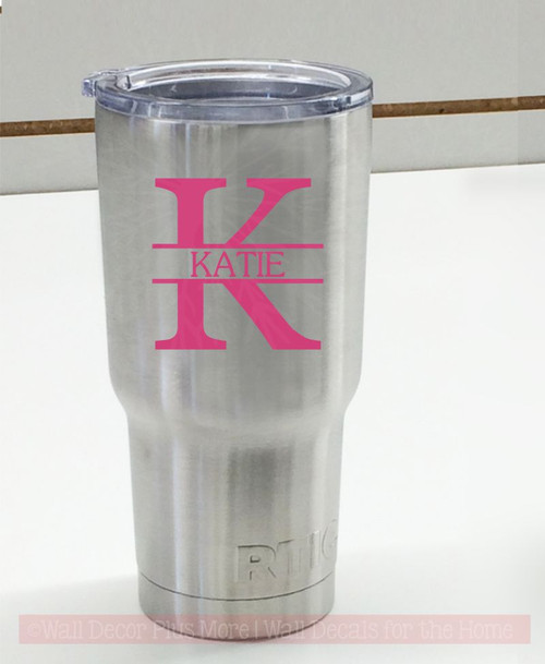 Set of 2 Modern Monogram Tumbler Personalized Mug Vinyl Decals for Cups-Glossy Hot Pink