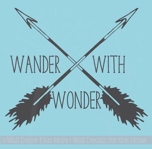 Wander With Wonder Arrows Vinyl Art Decals Camper Wall Stickers Quote