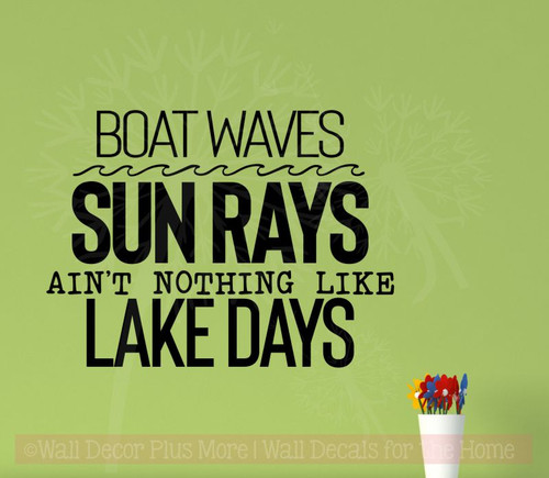 Lake Days Summer Quote Vinyl Lettering Decals Camper Wall Art Stickers-Black