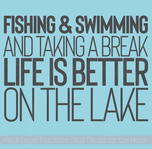 Life Is Better On The Lake Vinyl Lettering Stickers Summer Wall Quotes
