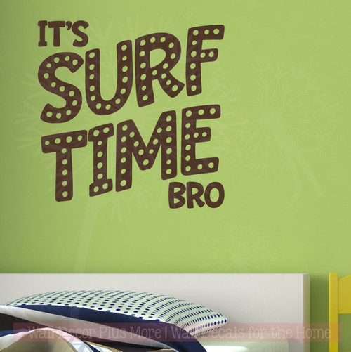 Surf Time Boy Bedroom Wall Quotes Vinyl Lettering Beach Stickers-Chocolate Brown