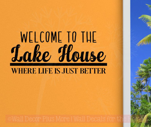 Lake House Vinyl Lettering Decals Wall Sticker Quotes Beach Home Decor-Black