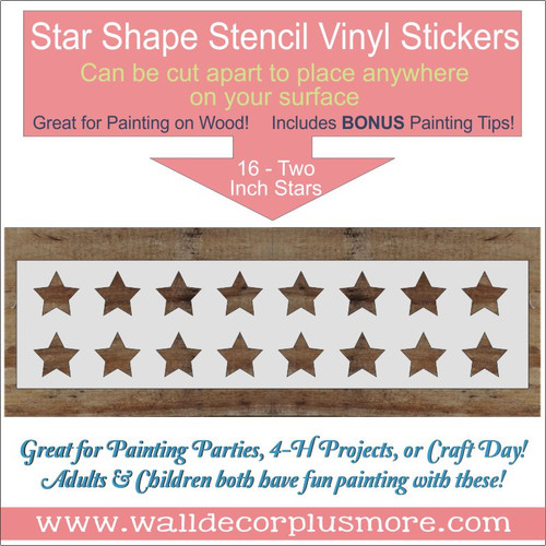 2 Inch Star 16 Stencils Wood Projects for Wall Art DIY Home Decor