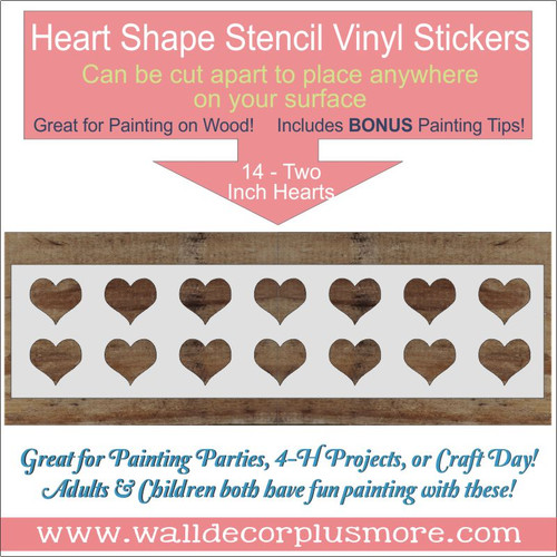 2 Inch Heart 14 Stencil Wall Art for Wood Project DIY Bedroom Decor