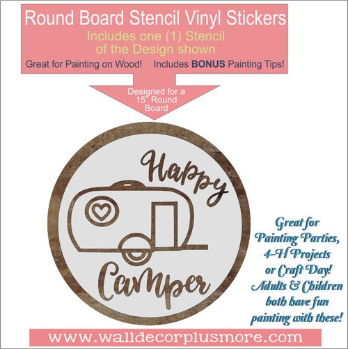 Happy Camper 15inch Round Stencil Wood Project RV Wall Decor Quote