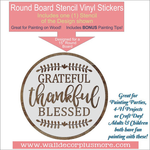 Grateful Thankful Blessed 15Inch Round Stencil Wall Art DIY Home Decor