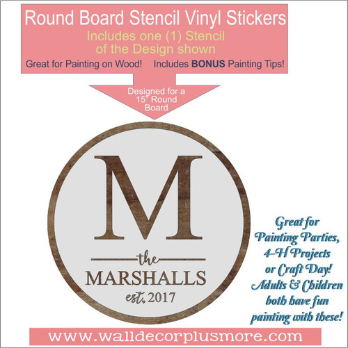 Personalized Monogram 15Inch Round Stencil DIY Home Decor Wall Art