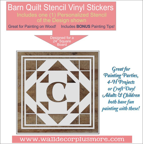 Personalized Barn Quilt Stencil Monogram DIY Wood Home Decor